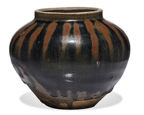 Important Jin dynasty Cizhou russet splashed water melon jar