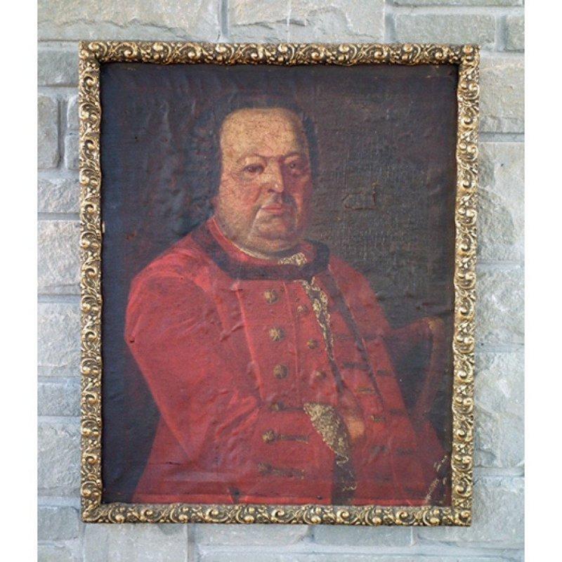 Antique Painting Polish Saxon Officer Portrait 18th c