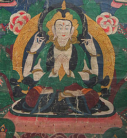 Antique Tibetan Thangka Thanka Avalokiteshvara 18th c