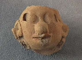 Antique Pre-Columbian Head Mask Maya 200 AD to 600 AD