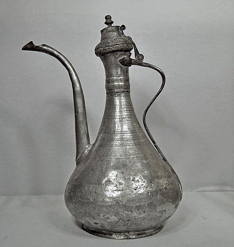 Antique 18/19th century Islamic Turkish Ottoman Tinned Copper Ewer