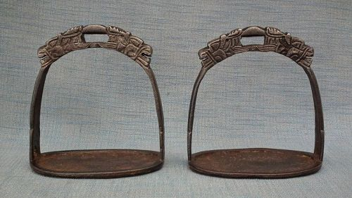 Antique Chinese Ming Dynasty Warrior Horseman Horse Saddle Stirrups
