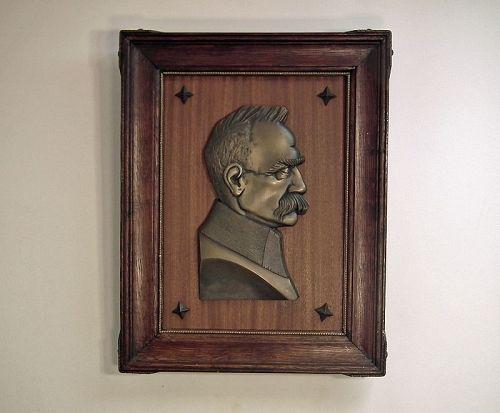 Antique Art Deco Bronze Relief Portrait Polish Marshal Jozef Pilsudski