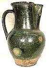 Antique 17th century Tudor Green Ware Wine Jug Or Beer Pitcher