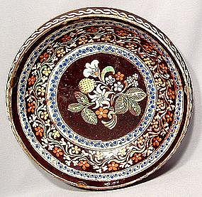 ANTIQUE EUROPEAN CERAMIC DISH, 18TH CENTURY