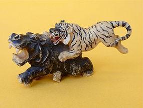 Japanese Ivory Okimono carving tiger & hippopotamus
