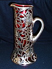 Sterling Overlay red glass motor boat club race trophy