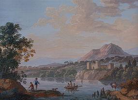 Italian Neapolitan Gouache landscape 19th century