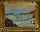 Anna A Hills Laguna Surf oil canvas board 1926