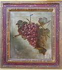 Antique Still life painting wine grapes 19 century