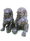 Antique Chnese carved Zitan wood Foo Dogs Qing