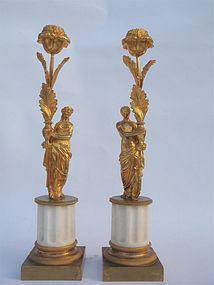 Gilt Bronze Candle holders figural floral antiques