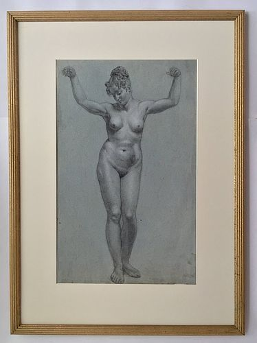 Antique Female Nude Drawing France 19th century