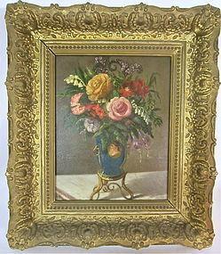 Oil painting still life flowers in a vase Caroline Noette 1874