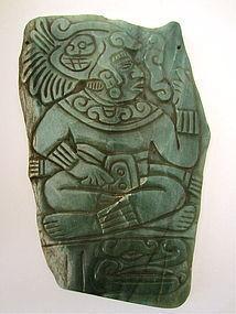 Mayan Jade pectoral plaque classic period.