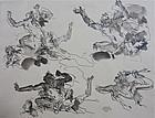 Serge Ivanhoff Drawing figural studies Paris c.1945 Russian Art