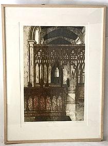 Etching Valerie Thornton Gothic Interior