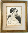 French portrait Woman master drawing c.1847 antique fine art