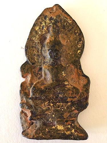 Antique Thai Buddha Amulet gold gilt