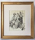 French Master 18th C. Classical Watercolor Ink drawing