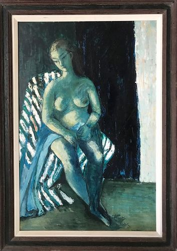 Vintage Post Impressionist Nude Female Oil Painting