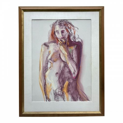 Vintage Modernist Pastel of a Female Nude by Gerrard Haggerty