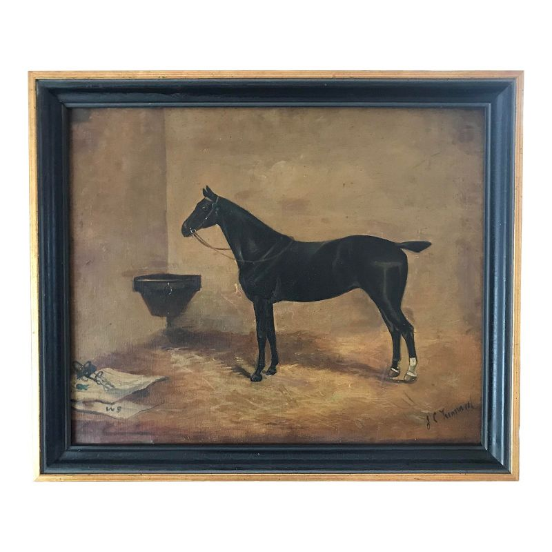 Antique English Oil Painting Portrait of a Horse by John Tunnard