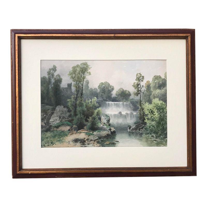 Antique Italian Watercolor Landscape by Vincent Blatter