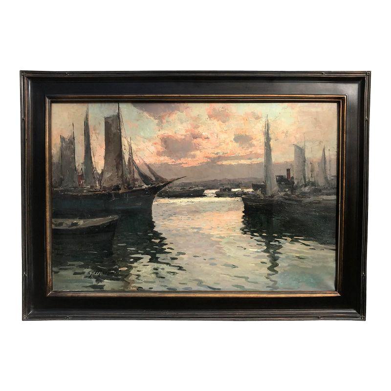 Vintage Italian Oil Painting Bay of Naples Italy Harbor G. Mariani