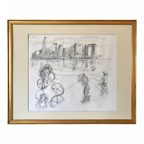 New York Manhattan Skyline Figures Drawing by Tom Christopher