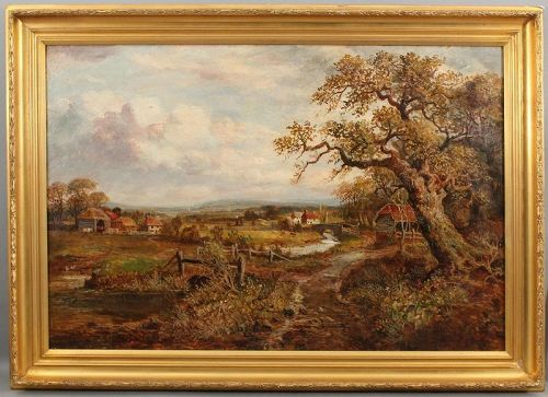 Antique European Village Landscape Oil Painting Colin Campbell Cooper