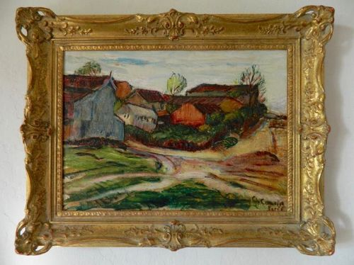 Charles Camion Postimpressionist Oil Painting French Country Village