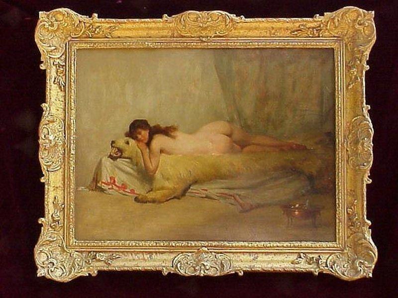 Nude on Bearskin Rug Orientalist A. Goldwhite