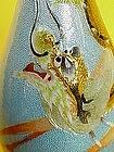 Japanese wireless cloisonne enamel dragon vase signed