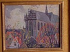 """Jessie Arms Botke titled """"Holland Church"""" oil painting"""