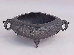 Japanese Bronze Ichibana bowl figures c.1900