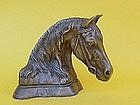 Bronze Portrait bust of a Horse artist Monogram