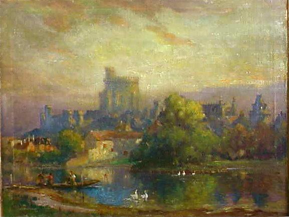 Colin Campbell Cooper Oil Windsor Castle Exhibited N.Y.