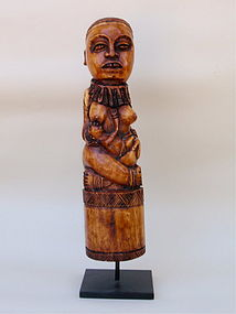 African art Carved Ivory Statue nursing female