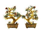 2 Chinese HardStone Peach Tree Cloisonne Planter