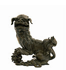 17C Chinese Bronze Fu Foo Dog Lion Censer