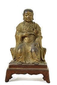 17C Chinese Gilt Lacquer Bronze Buddha Figure