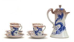1920's Japanese Studio Nishiura Dragon Chocolate Tea Teapot Set Mk