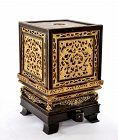 Chinese Wood Gilt Lacquer Temple Altar Shrine Box Stand
