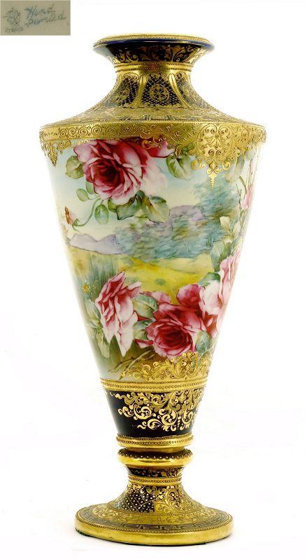Japanese Nippon Cobalt Blue Gold Bead Roses Vase