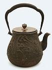 Japanese Cast Iron Relief Teapot Tetsubin for Tea Sg