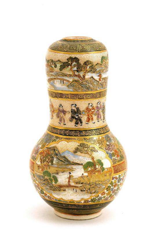 Japanese Kazan Satsuma Gourd Vase Geisha Sg