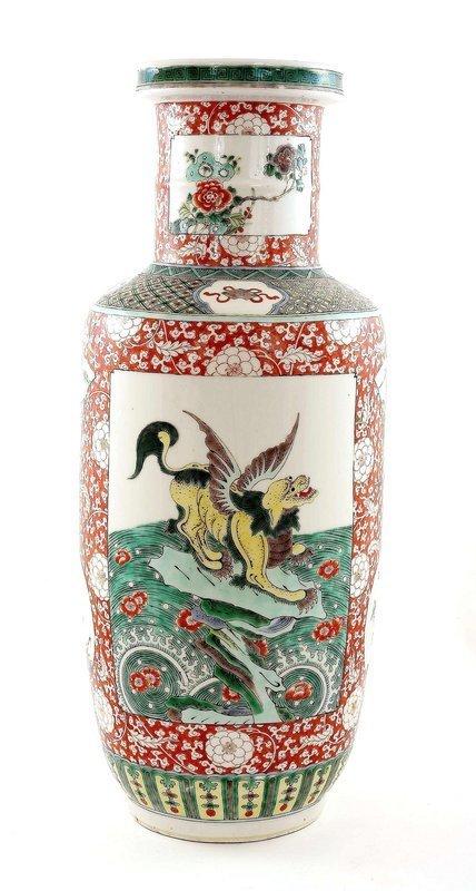 Early 20C Chinese Famille Rose Wucai Vase Fu Dog
