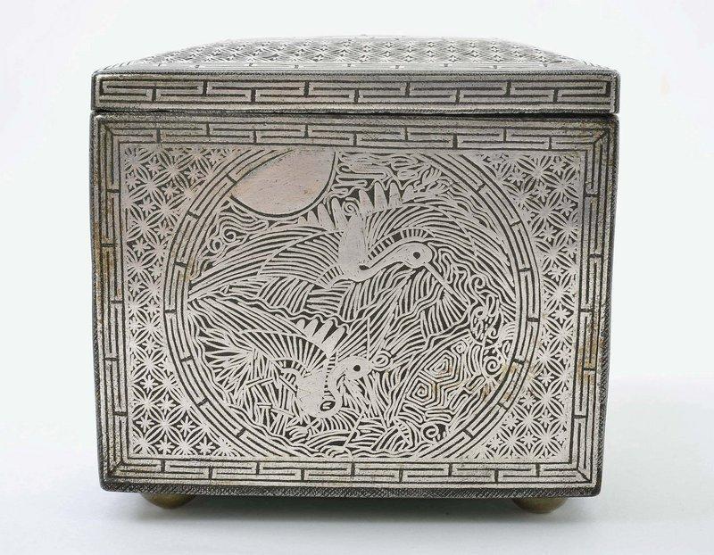 19C Korean Iron Silver Inlay Box Deer & Crane