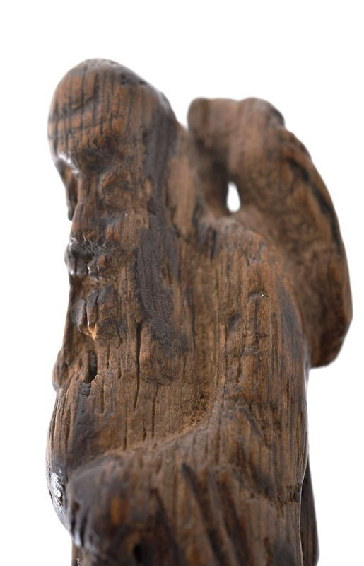 19C Chinese Aloeswood Carved Shoulo God Longevity